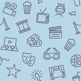 Cinema seamless background. Seamless background of linear movie characters. Vector pattern Stock Photo