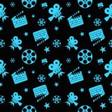 Cinema seamless pattern blue. Cinema concept seamless pattern. Flat vector cartoon cinema illustration. Objects  on a white background. Flat vector cartoon Stock Photography
