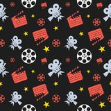 Cinema seamless pattern blue. Cinema concept seamless pattern. Flat vector cartoon cinema illustration. Objects  on a white background. Flat vector cartoon Royalty Free Stock Photo