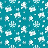 Cinema seamless pattern blue white. Blue cinema concept seamless pattern. Flat vector cartoon cinema illustration. Objects isolated on a white background. Flat Royalty Free Stock Image
