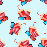 Cinema seamless pattern with film reel, clapper, popcorn, 3D gla. Seamless cinema pattern with tickets, glasses and popcorn Stock Images
