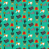 Cinema seamless pattern. Cinema pattern on the green background. Vector illustration Royalty Free Stock Photography