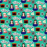 Cinema seamless pattern. Cinema pattern on the green background. Vector illustration Stock Photography