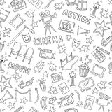 Cinema seamless pattern with hand drawn elements Royalty Free Stock Photography