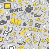 Cinema seamless pattern with hand drawn elements. Cinema colorful seamless pattern with hand drawn elements. Background with clapperboard, camera, chairs, awards Stock Photography