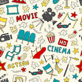 Cinema seamless pattern with hand drawn elements. Cinema colorful seamless pattern with hand drawn elements. Background with clapperboard, camera, chairs, awards Royalty Free Stock Image