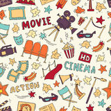 Cinema seamless pattern with hand drawn elements. Cinema colorful seamless pattern with hand drawn elements. Background with clapperboard, camera, chairs, awards Stock Photos