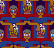 Cinema seamless pattern. Spectator in stereo glasses and popcorn Stock Image
