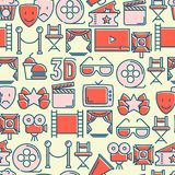 Cinema seamless pattern with thin line icons. Related to film. Vector illustration for background of banner, web page, announcement Stock Image
