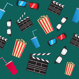 Cinema seamless pattern. Cinema vector color seamless pattern Royalty Free Stock Photos