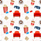 Cinema seamless texture. With a pattern of detailed movie objects - film reel, popcorn, 3D glasses, seats Royalty Free Stock Photo