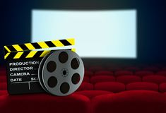 Cinema seat with clapperboard and film reel Royalty Free Stock Photo