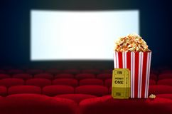 Cinema seat and Pop corn Stock Images