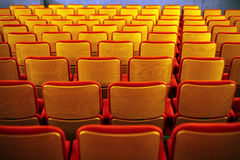 Cinema seats. Color horizontal shot of some seats in a cinema hall royalty free stock photo