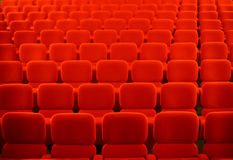Cinema seats. Color horizontal shot of some seats in a cinema hall royalty free stock image