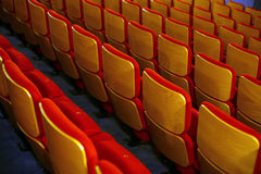 Cinema seats. Color horizontal shot of some seats in a cinema hall stock images
