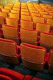 Cinema seats. Color vertical shot of some seats in a cinema hall stock photos