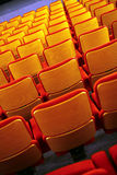 Cinema seats. Color vertical shot of some seats in a cinema hall stock image