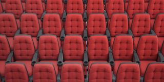 Cinema seats. 3d rendering. Rows armchair closeup. Cinema seats. 3d rendering. Rows armchair closeup Stock Photography