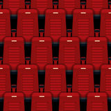 Cinema seats seamless background. Theater and auditorium, entertainment and red, row and interior. Vector illustration Stock Images
