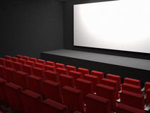 Cinema seats and white blank screen. 3d high quality render Stock Images