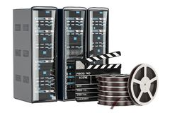 Cinema Server concept. Computer Server Racks with film reel and. Clapperboard Stock Photography