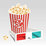 Cinema set. 3D specs and paperbag full of popcorn Stock Images
