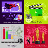 Cinema Set Banners Film Movie Design. Best picture, award academy, trailer and budget, book comic based, movie cinema, film video, art production cinema Royalty Free Stock Photos