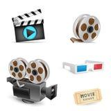 Cinema set. The cinema set collection on the white background Stock Photo