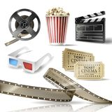 Cinema set of 3D realistic objects. Cardboard bucket with popcorn, reel, tape, glasses, movie tickets and clapperboard. Vector colorful design elements of film Royalty Free Stock Images