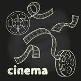 Cinema set. Doodle film reel and strip. Sketch vector illustration Stock Photos