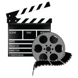 Cinema set. Cinema flap and cinefilm, cinema flap  illustration, film strip, celluloid Royalty Free Stock Photography