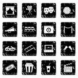 Cinema set icons, grunge style. Cinema set icons in grunge style isolated on white background. Vector illustration Royalty Free Stock Images