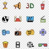 Cinema set icons. In hand drawn style on transparent background Royalty Free Stock Photography