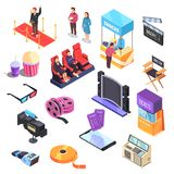 Cinema Isometric Set. Cinema set of isometric icons with movie equipment, mobile tickets, snacks, audience in chairs isolated vector illustration Royalty Free Stock Photography