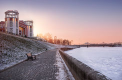 Cinema on the shore. Of the frozen Volga Stock Images