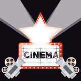 Cinema short film with video camera and reel ecene. Vector illustration Stock Photography