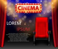 Cinema show design with lights scene and red seats in Retro style. Poster for concert, party, theater. Theater premiere. Realistic cinema hall interior with red Royalty Free Stock Photo