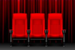 Cinema show design with red empty seats. Poster for concert, party, theater. Realistic chairs for cinema theater. vector. Cinema show design with red empty seats Stock Image