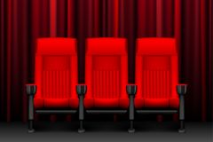 Cinema show design with red empty seats. Poster for concert, party, theater. Realistic chairs for cinema theater. vector. Cinema show design with red empty seats Royalty Free Stock Photography
