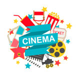 Cinema sign with cinema icons set. In flat design style, vector illustration Royalty Free Stock Photos