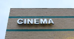 Cinema Sign at the Movies Royalty Free Stock Photos