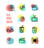 Cinema sign and symbol vector set Royalty Free Stock Image