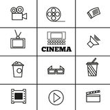 Cinema sign and symbol vector set Royalty Free Stock Images