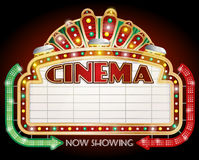 Cinema sign with two arrows. Stock Photo