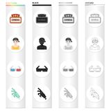 Cinema sign, viewer, 3D glasses, special effects, mechanical hand. Film and Cinema set collection icons in cartoon black. Monochrome outline style vector symbol Royalty Free Stock Image