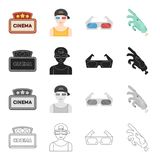 Cinema sign, viewer, 3D glasses, special effects, mechanical hand. Film and Cinema set collection icons in cartoon black Royalty Free Stock Photos