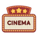 Cinema signboard icon in cartoon style isolated on white background. Films and cinema symbol stock vector illustration. Cinema signboard icon in cartoon style Stock Photos