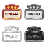 Cinema signboard icon in cartoon style isolated on white background. Films and cinema symbol stock vector illustration. Cinema signboard icon in cartoon style Royalty Free Stock Photos