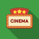 Cinema signboard icon in flat style isolated on white background. Films and cinema symbol stock vector illustration. Cinema signboard icon in flat style Stock Image